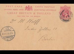 England: 1907: Ondon nach Berlin - Ganzsache