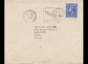 England: 1946: London nach USA: United Nations Werbung
