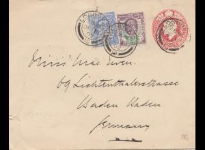 England: 1902: London nach Deutschland - Perfin Ganzsache