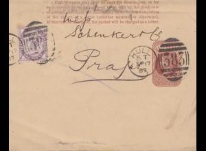 England: 1887: Hull nach Prag - Perfin