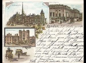 England: 1900 Ansichtskarte London in die Schweiz