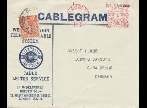 England: 1927: Cablegram London nach Deutschland