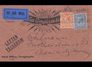 England: Air Mail - Letter Telegram nach Chemnitz