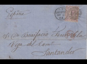 England: 1864: Liverpool nach Santander/Spain