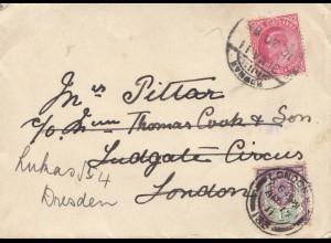 England: 1911 London nach Dresden