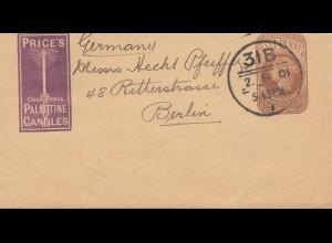 England: Brief 1901 nach Berlin: Palmitine Candles