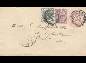 England: 1901: London Ganzsache-Perfin 6A nach Berlin