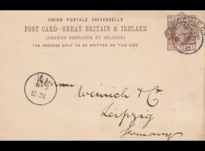 England: 1885: Ganzsache - Perfin - London nach Leipzig