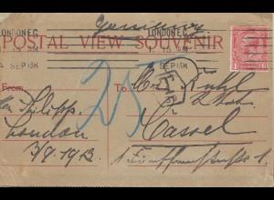 England: 1913: Postal View Souvenir London nach Kassel: Textblock innen