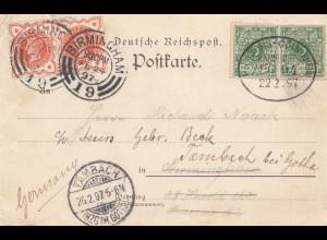 England: 1897: Birmingham nach Tambach : Ansichtskarte Hamburg Rathsweinkeller