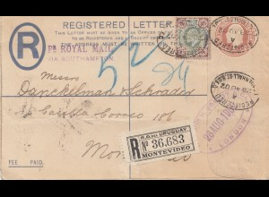 England: 1902: Registered nach Montevideo