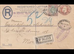 England: 1902: Registered nach Montevideo