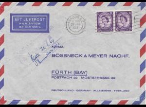 England: 1964: Luftpost London nach Fürth