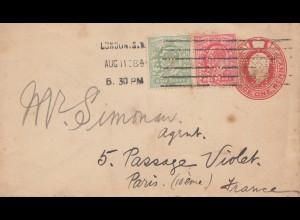 England: 1908: Ganzsache Perfin von London nach Paris