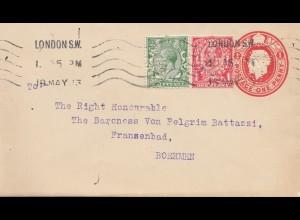England: 1913: Brief von London nach Böhmen - Ganzsachen Perfin