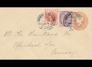 England: 1898: Ganzsache - Perfin - nach Offenbach