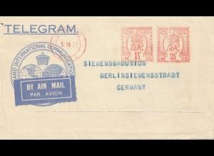 England: 1932: Air Mail Telegram nach Deutschland