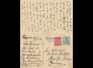 England: 1913: Ganzsache mit Antwortkarte Cardiff - Stegnitz