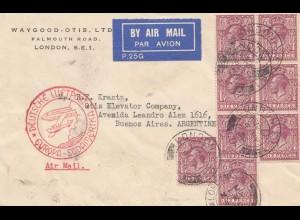 England: 1935: Luftpost London nach Argentinien- Deutsche Luftpost Europa-Süd-Am