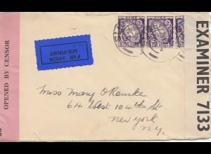 Irland: 1941: Luftpost nach USA - 2x Censor