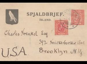 Island: 1928: Ganzsache über Kopenhagen nach USA mit Textinhalt - Vogel