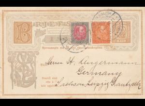 Island: 1910: Ganzsache von Reykjavik nach Leipzig