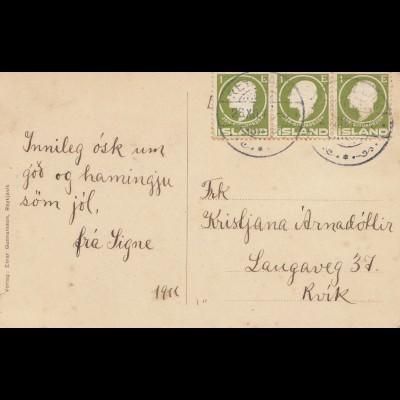 Island: 1911: Ansichtskarte nach Rvik mit Ziegenbock
