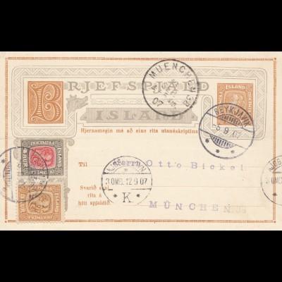 Island: 1912 Ganzsache von Reykjavik nach München mit ungebrauchter Antwortkarte