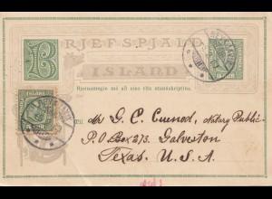 Island: 1909 Ganzsache von Reykjavik nach USA