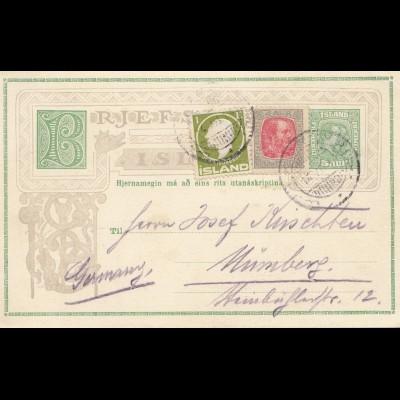 Island: Ganzsache 1914 nach Nürnberg