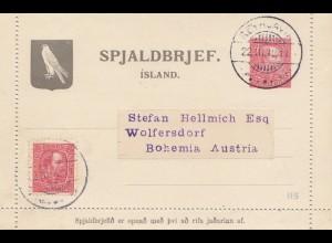 Island: 1912: Ganzsache nach Austria - ohne Text