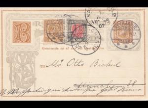 Island: 1907: Ganzsache nach München