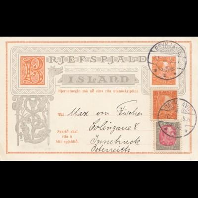 Island: 1905: Ganzsache mit ungebrauchter Antwortkarte nach Innsbruck