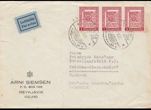 Island: 1957: Luftpost nach Zwickau