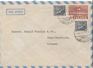 Island: 1949: Luftpost nach Idar Oberstein