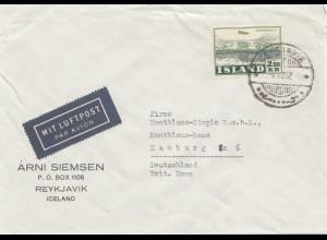 Island: Brief 1952 nach Hamburg als Luftpost