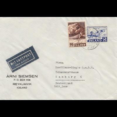 Island: 1952: Brief nach Hamburg als Luftpost