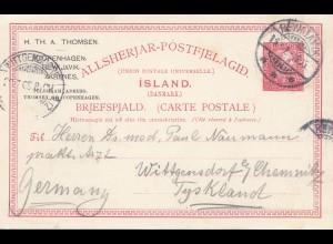 Island: 1905: Ganzsache nach Chemnitz
