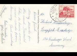 Island: 1952: Ansichtskarte nach Lengefeld