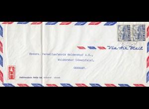 Island: 1953: Luftpostbrief nach Waldershof