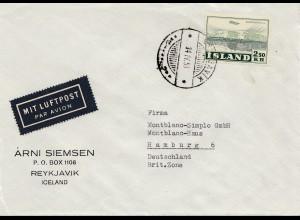 Island: 1951: Luftpostbrief nach Hamburg
