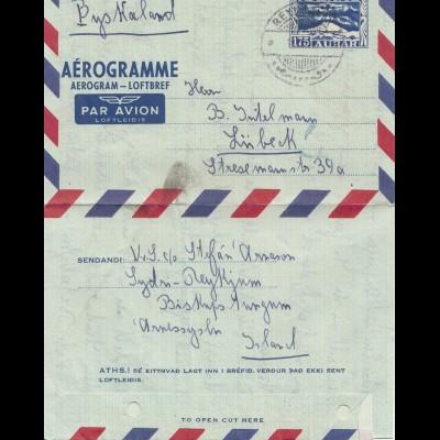 Island: 1955 Aerogramme-Ganzsache nach Lübeck