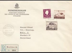 Island: 1961: Einschreiben Reykjavik nach Köln