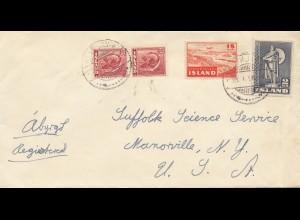 Island: 1950: Brief - Einschreiben nach USA