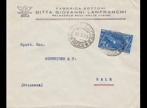 Italien: 1933: Palazzolo Sull Oglio in die Schweiz/Basel