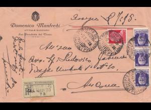 Italien: 1930: Einschreiben San Benedetto del Tronto nach Foggia Bologna