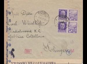 Italien: 1942: Acqui nach Solingen - Verificato/OKW Zensur