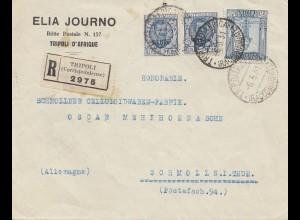 Italien: 1931: Einschreiben Tripoli nach Deutschland /Schmoiln