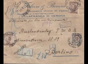 Italien: 1922: Einschreiben Verona nach Berlin