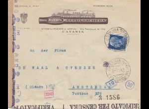 Italien: 1942: Catania nach Amsterdam - Verificato-Zensur
